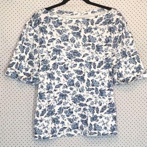Appleseeds XL Shirt Top Floral Short Sleeve Cotton